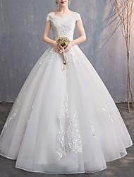 cheap -A-Line Off Shoulder Floor Length Tulle Cap Sleeve Wedding Dresses with Embroidery 2020