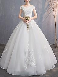 abordables -Trapèze Epaules Dénudées Longueur Sol Tulle Sangles Robes de mariée sur mesure avec Broderie 2020