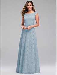 cheap -A-Line Jewel Neck Floor Length Spandex / Lace / Polyester Bridesmaid Dress with Lace
