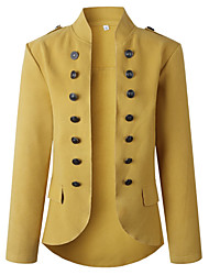 cheap -Women's Daily Winter Long Coat, Solid Colored V Neck Long Sleeve Polyester Army Green / Yellow / Red