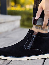 cheap -Men's Comfort Shoes Suede Fall & Winter Boots Booties / Ankle Boots Black / Yellow / Blue