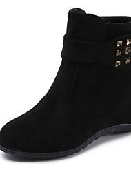 cheap -Women's Boots Flat Heel Round Toe Suede Booties / Ankle Boots Winter Black / Wine / Beige