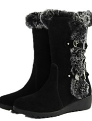 cheap -Women's Boots Wedge Heel Round Toe Suede Mid-Calf Boots Fall & Winter Black / Brown