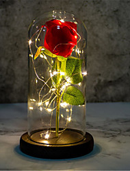 cheap -Valentine's day gift glass cover imitation rose lamp decoration