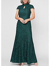cheap -Sheath / Column High Neck Floor Length Lace / Satin Short Sleeve Elegant & Luxurious Mother of the Bride Dress with Beading 2020