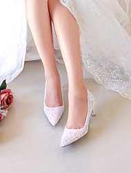 cheap -Women's Wedding Shoes Low Heel Pointed Toe Rhinestone / Sparkling Glitter PU Vintage / Sweet Fall & Winter Rainbow / Party & Evening
