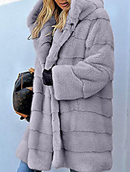 cheap -Women's Daily Fall & Winter Regular Faux Fur Coat, Solid Colored Hooded Long Sleeve Faux Fur Black / Blushing Pink / Brown