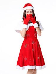 abordables -Déguisement Halloween Femme Halloween Noël Père Noël Noël Halloween Carnaval Rouge Costumes Carnaval / Chapeau
