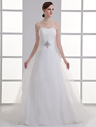 cheap -A-Line Sweetheart Neckline Chapel Train Lace / Satin Strapless Wedding Dresses with Ruched / Beading / Draping 2020