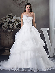 cheap -A-Line Wedding Dresses Strapless Chapel Train Organza Satin Strapless with Pick Up Skirt 2020