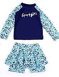 abordables -Enfants Fille Fleur Maillot de Bain Bleu