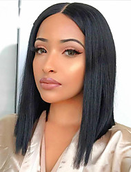 cheap -Human Hair 13x6 Closure Wig Deep Parting style Brazilian Hair Natural Straight Natural Wig 150% Density Smooth Women Best Quality Hot Sale Comfortable Women's Short Human Hair Lace Wig Dolago