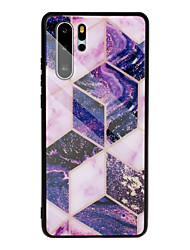 cheap -Case for Huawei scene map Huawei P30 P30 Lite P30 Pro Mate 30 Mate 30 Pro Marble pattern diamond-shaped plated tempered glass back plate TPU frame 2-in-1 mobile phone case