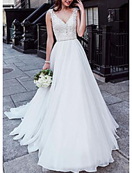cheap -A-Line V Neck Court Train Chiffon / Lace Regular Straps Wedding Dresses with Beading 2020