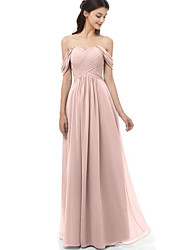 cheap -A-Line Off Shoulder Floor Length Chiffon Bridesmaid Dress with Pleats / Ruching