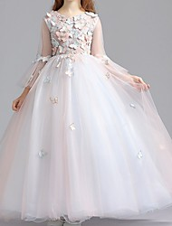cheap -Ball Gown Floor Length Pageant Flower Girl Dresses - Polyester Long Sleeve Jewel Neck with Appliques