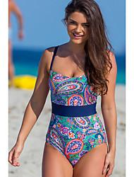 cheap -Women's Basic Blue Bandeau Cheeky High Waist One-piece Swimwear - Floral Geometric Lace up Print S M L Blue