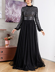 cheap -A-Line High Neck Sweep / Brush Train Chiffon Sparkle / Black Wedding Guest / Formal Evening Dress with Pleats / Sequin 2020