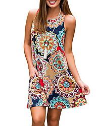cheap -Women's Shift Dress - Color Block Black Light Blue White S M L XL