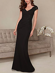 cheap -Sheath / Column Plunging Neck Sweep / Brush Train Jersey Elegant Formal Evening Dress with Appliques / Lace Insert 2020
