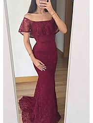 cheap -Mermaid / Trumpet Off Shoulder Sweep / Brush Train Lace Elegant Prom Dress with Ruffles 2020