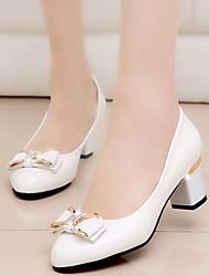 cheap -Women's Heels Chunky Heel Round Toe PU Winter Black / White / Beige