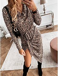 cheap -Women's Daily Street Street chic Elegant Sheath Dress - Leopard Cut Out Patchwork Khaki S M L XL