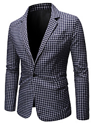 cheap -Men's Blazer, Check Shirt Collar Polyester Blue / Red / Gray