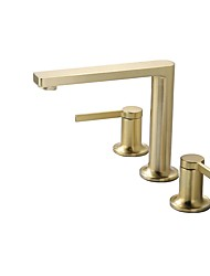 cheap -Bathroom Sink Faucet - Widespread Brushed Gold Other Two Handles Three HolesBath Taps