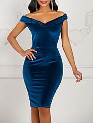 cheap -Women's Wine Blue Dress Elegant 1920s Flapper Solid Colored Deep V The Great Gatsby S M Slim