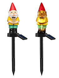 cheap -The New Solar Lawn Lamp Outdoor Waterproof Garden Garden Santa Claus Style Inserted 2PCS Landscape Lights