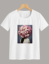 cheap -Women's Daily Going out Basic T-shirt - Floral / Portrait Print White