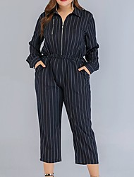 cheap -Women's Basic Blue Jumpsuit Onesie, Striped Patchwork L XL XXL