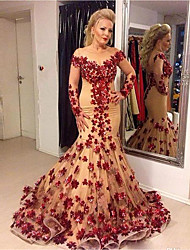 cheap -Mermaid / Trumpet Jewel Neck Court Train Tulle Elegant Formal Evening Dress with Appliques 2020