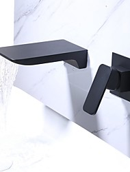 cheap -Bathroom Sink Faucet - Waterfall Electroplated Wall Installation Single Handle Two HolesBath Taps