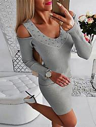 cheap -Women's Sheath Dress - Solid Colored Navy Blue Gray S M L XL