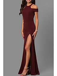 cheap -Sheath / Column Jewel Neck Sweep / Brush Train Jersey Elegant Formal Evening Dress with Split Front / Pleats 2020