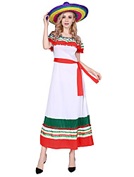 cheap -Adults' Women's Ethnic & Interracial Mexico Dress Outfits Party Costume For Party Halloween Polyester Halloween Carnival Masquerade Dress Belt