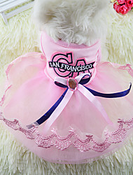 cheap -Dog Cat Dress Solid Colored Princess Romantic Sweet Dog Clothes Blue Pink Costume Cotton XS S M L XL XXL