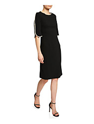 cheap -Sheath / Column Jewel Neck Knee Length Jersey Elegant Cocktail Party / Holiday Dress with Pearls / Split Front 2020