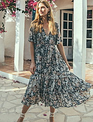 cheap -Women's Chiffon Dress Midi Dress - Short Sleeve Floral Print Summer Deep V Holiday Black Blushing Pink S M L XL