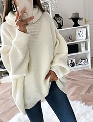 cheap -Women's Solid Colored Long Sleeve Pullover Sweater Jumper, Turtleneck White / Blushing Pink / Brown S / M / L