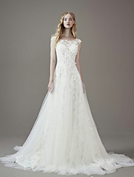 cheap -A-Line Jewel Neck Court Train Lace / Tulle Short Sleeve Wedding Dresses with Lace 2020