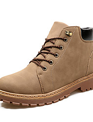 cheap -Men's Combat Boots PU Winter Casual / British Boots Walking Shoes Warm Black / Brown / Khaki