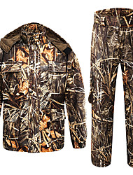 cheap -Men's Hunting Jacket with Pants Hunting Suit Outdoor Windproof Breathable Autumn / Fall Spring Winter Camo Hoodie Jacket and Pants Clothing Suit Cotton 100% Polyester Hunting Fishing Camping / Hiking