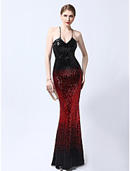 cheap -Mermaid / Trumpet Halter Neck Floor Length Sequined Sparkle & Shine Formal Evening Dress with Sequin by LAN TING Express