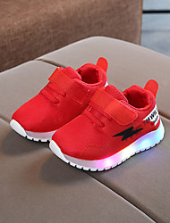 cheap -Boys' Trainers Athletic Shoes LED Comfort LED Shoes Suede Mesh LED Shoes Little Kids(4-7ys) Daily Braided Strap Split Joint LED White Black Red Spring Fall