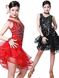 cheap -Women's Flapper Girl Latin Dance Flapper Dress Party Costume Sequins Flapper Costume Tulle Sequin Polyster Black Purple Royal Blue Dress