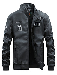 cheap -Men's Daily Basic Spring &  Fall Regular Leather Jacket, Letter Stand Long Sleeve PU Black / Yellow / Blue