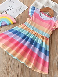 cheap -Kids Girls' Striped Dress Rainbow